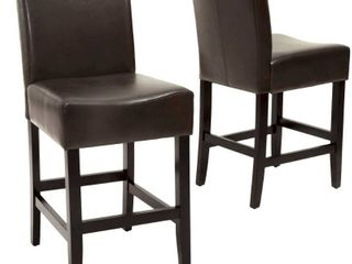 lopez 26 inch Brown leather Counterstools  Set of 2  by Christopher Knight Home  Retail 227 49