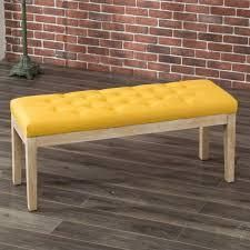 habit wood button tufted dining bench with yellow fabric