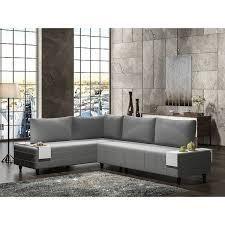 Modern Metal Frame With Foam Seat Sectional Sofa   Grey  797 99