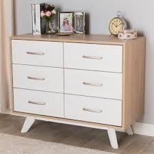 Mid Century White and Oak 6 Drawer Dresser  Retail 338 49