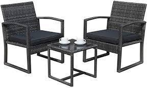 3 piece dark grey outdoor wicker chat set with cushions