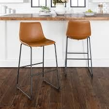 whiskey brown colored Carbon loft Prusiner Faux leather Counter Stool  Set of 2  Retail 173 49