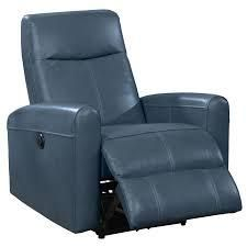 ac pacftic co eli contemporary leather chair 2pt massage power reclining navy blue