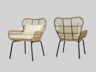 Southport Outdoor Rope Club Chairs with Water Resistant Cushions  Set of 2  by Christopher Knight Home  Retail 281 99