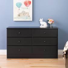 bella 6 drawer dresser black
