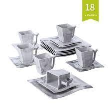 MAlACASA  Series Flora  Grey Stoneware Dinnerware Set For 6  Retail 119 99 30 piece