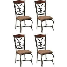 signature ashley sills lateral chairs set of 4 metal bronze and brown Cushion
