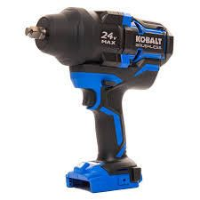 kobalt xtr 24 v max brushless half a inch high torque impact wrench kit used
