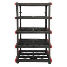 plastic red and black 5 tier shelf