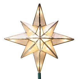 10 in White lighted Capiz Star Christmas Tree Topper with White Incandescent lights