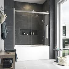 love bel soft close 60 tub door satin nickel finish clear glass