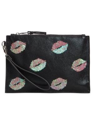 Inc Molyy Pink Sequin lips Pouch Wristlet Retail   39 50