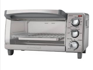 BlACK DECKER 4 Slice Toaster Oven  Easy Controls  Stainless Steel  TO1760SS