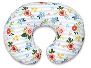 Boppy Original Nursing Pillow And Positioner  Blue Pink Posy  Cotton Blend With