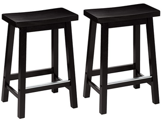 Amazonbasics Classic Solid Wood Saddle seat Kitchen Counter Stool With Foot Plat