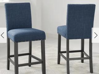 Strick   Bolton Gallaccio 25 inch Blue Fabric Stool  Set of 2    40 H x 18 3 W x 22 3 l Retail 156 49