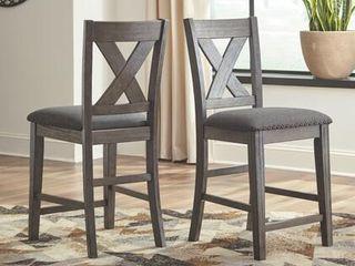 Caitbrook Upholstered Counter Height Bar Stool   Set of 2  Dark Gray Retail 199 49