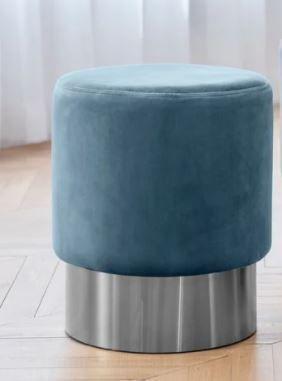 Art leon Round Velvet Ottoman Upholstered with Plating Metal Hemming Retail 81 48