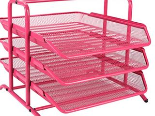 Pink Mesh Metal Desk Tray Organizer