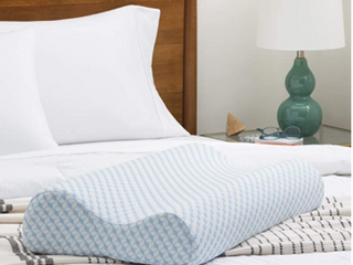 linenSpa Contour Gel Memory Foam Pillow   Herringbone Blue White
