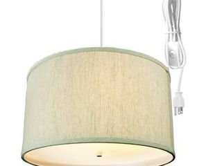 2 light Swag Plug In Pendant 16 w Textured Oatmeal with Diffuser  White Cord  Retail 108 49