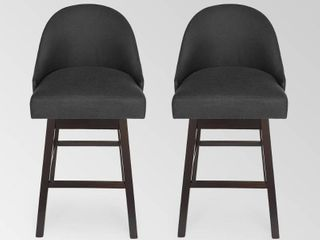 Boyd Modern Upholstered Swivel Bar Stool  Set of 2  by Christopher Knight Home  dark charcoal   espresso  Retail 249 99