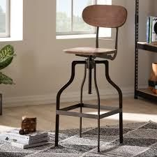 Industrial RustFinishes Adjustable Swivel Bar Stool by Baxton Studio rust  bamboo color Retail 92 99