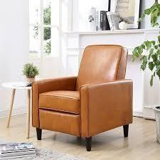 Carson Carrington Knaben Mocha Faux leather Recliner Club Chair  Retail 202 99 camel