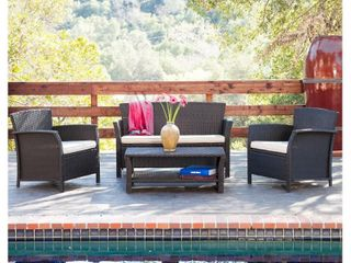 Santa lucia Outdoor 4 piece Brown Wicker Conversation Set with Cushions by Christopher Knight Home  Retail 596 49 brown and beige