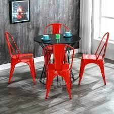 Red Morden Industrial Style Iron Dining Room Chairs Kitchen Trattoria Chairs Set of 4 Retail  138 49