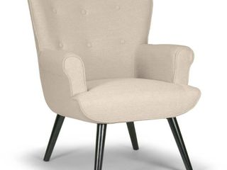 Null  Retail 361 49 Alexi Modern Biege Fabric Wing Chair with Button Tufted Back