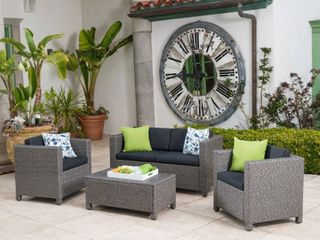 black and dark greyPuerta Outdoor 4 piece Sofa Set by Christopher Knight Home   Retail 728 99