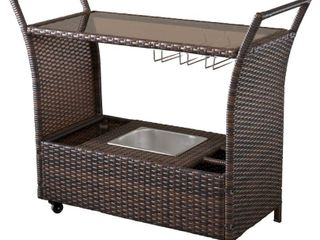 Brown Bahama Outdoor Wicker Bar Cart with Glass Top by Christopher Knight Home   Retail 235 99