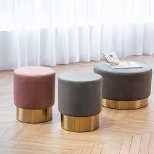 Cinnamon Art leon Round Velvet Ottoman Upholstered with Plating Metal Hemming  Retail 131 99