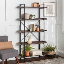Brown Wood Finish Metal Finish Carbon loft Edelman Dark Walnut Urban Industrial Pipe Bookshelf Retail  188 99