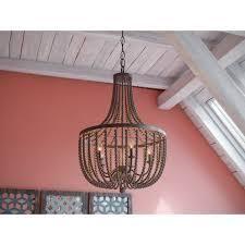 Golden Bronze  decin casual 5 light wood Beaded ChandelierRetail 314 99