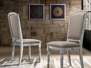 rustic white Iris Turned leg Wood Dining Chair Set of 2  Retail 142 99