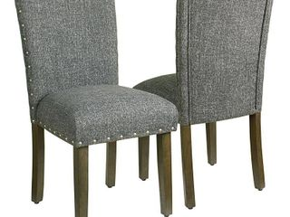 HomePop Classic Parsons Chair with Nailhead Trim   Slate Grey  set of 2  Retail 182 99