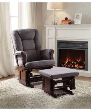Gray Microfiber   Cherry  31 l x 28 W x 41 H Aeron Microfiber 2 piece glider chair and ottoman set  Retail 328 99