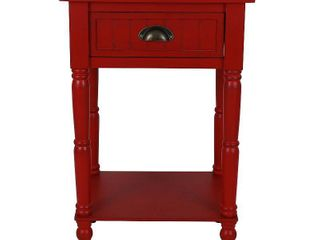 Antique Red  Bailey Bead Board 1 Drawer Accent TableRetail 87 96