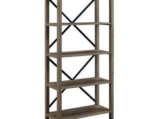64  Wood Farmhouse Metal X Frame Bookcase   Grey Wash