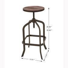 glitzhome adjustable metal revolving stool with soild wood seat New Walnut  Retail 97 49