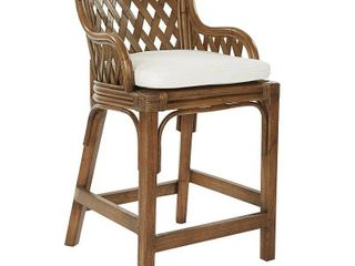 plantation 24 inch counter stool with woven back panels Brown White  Retail 321 99