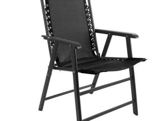 Pure Garden Suspension Folding Chair black