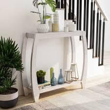 furniture of America clift transitional 2 shelf console table White Oak  Retail 154 99