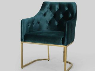 McDonough Modern Tufted Glam Accent Chair with Velvet Cushions and U Shaped Base by Christopher Knight Home  Retail 192 99 teal