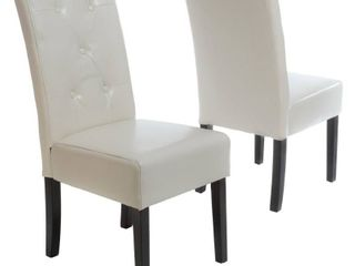 Taylor Ivory leather Dining Chair Set of 2 by Christopher Knight Home  Retail 168 49 ivory