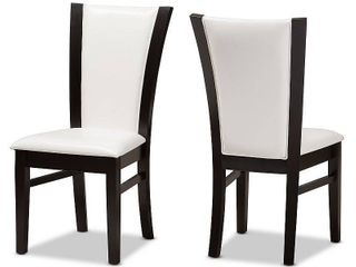 Baxton Studio Adley Modern and Contemporary Dark Brown Finished White Faux leather Dining Chair Set of 2