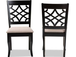 Baxton Studio Mael Sand Upholstered and Espresso Wood 2 Piece Dining Chair Set