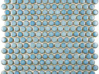EliteTile Penny 12 1 4  x 12  Glazed Porcelain Mosaic in Marine
